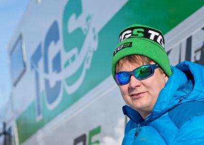 Toni Gardemaister poseerasi rekkansa edessä 3.3.2018. Itäralli, Joensuu