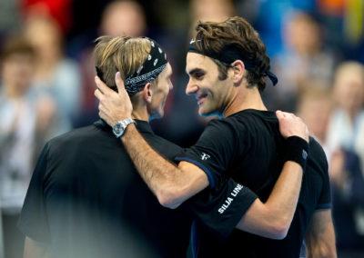 Jarkko Nieminen ja  Roger Federer The Final Night tapahtumasa 9.11.2015. Hartwall Areena, Helsinki.