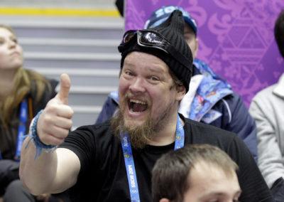 Ville Haapasalo Ylen asiantuntijana olympialaisissa 19.2.2014. Sotshi, Venäjä.
