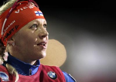 Kaisa Mäkäräinen Ampuahiihdon MM-kilpailuissa 11.3.2015. Kontionlahti, Joensuu