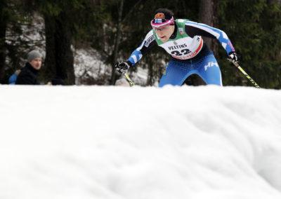 Aino-Kaisa Saarinen sprintin karsinnassa Salpausselän kisoissa 7.3.2015. Lahti