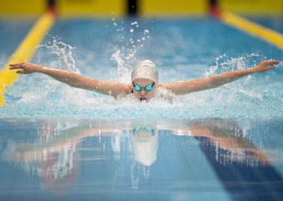Laura Lahtinen ui 200m perhosuinnin SM-kilpailuissa SM-viikolla 6.7.2017. Kalevan uimahalli, Tampere.