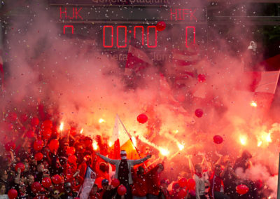 HIFK fanjeja Veikkausliigan jalkapallo-ottelussa HJK vs. HIFK 6.7.2015. Sonera Stadium, Helsinki.