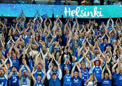 Kannattajia koripallon EM-kilpailussa ottelussa FIN vs. ISL 6.9.2017. Hartwall Areena, Helsinki.